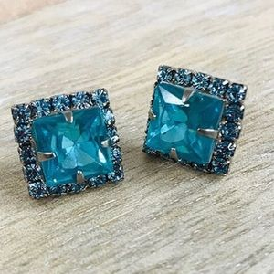Sorrelli Blue Zircon Square Crystal Earrings,NWT